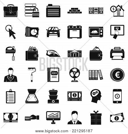 Loaning icons set. Simple style of 36 loaning vector icons for web isolated on white background