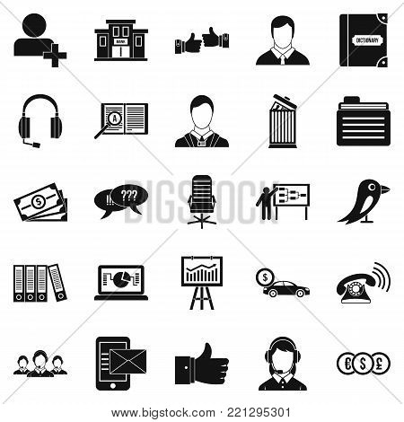 Deliberation icons set. Simple set of 25 deliberation vector icons for web isolated on white background