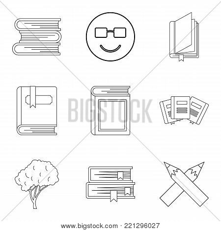 Increase of knowledge icons set. Outline set of 9 increase of knowledge vector icons for web isolated on white background