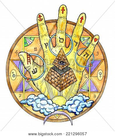 Watercolor illustration with hand palm and mysterious symbols isolated on white. Freemasonry and secret societies emblems, occult and spiritual mystic drawings. Tattoo fantasy design, new world order