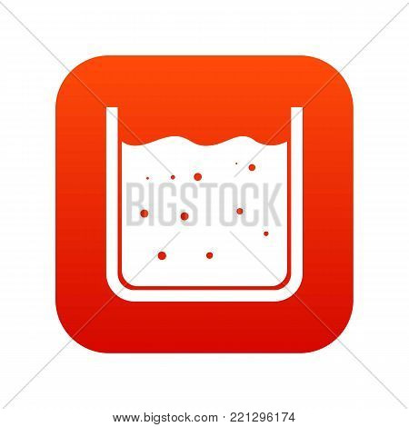 Beaker filled with liquid icon digital red for any design isolated on white vector illustration