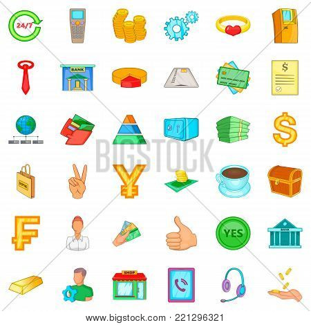 Credit icons set. Cartoon style of 36 credit vector icons for web isolated on white background