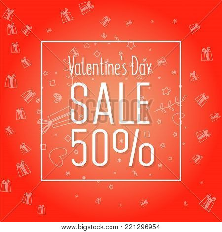 Sale of Valentine's Day. 50 off. Creative flyer with text happy valentine's day with love, gift icons