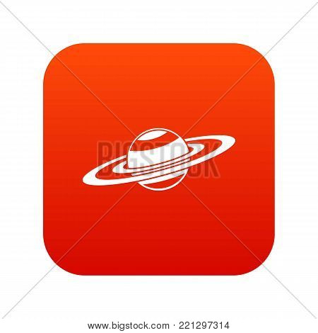Saturn rings icon digital red for any design isolated on white vector illustration