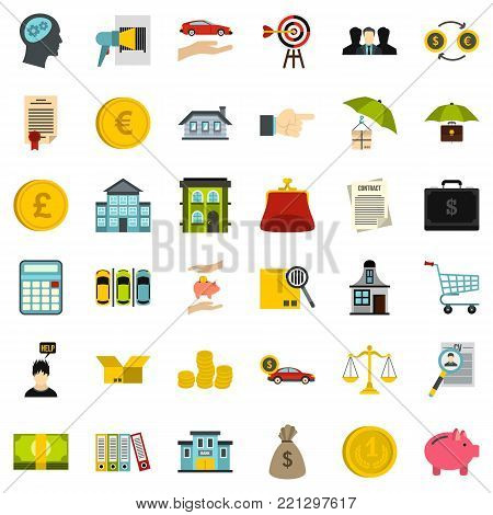 Finance icons set. Flat style of 36 finance vector icons for web isolated on white background