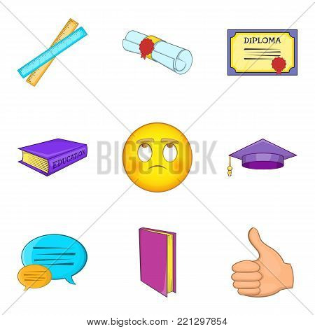 Academic degree icons set. Cartoon set of 9 academic degree vector icons for web isolated on white background