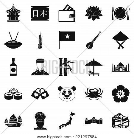 Diversity asia icons set. Simple set of 25 diversity asia vector icons for web isolated on white background