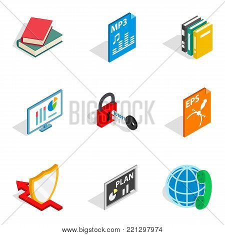 Remote lesson icons set. Isometric set of 9 remote lesson vector icons for web isolated on white background