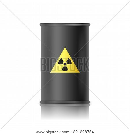 Black barrel with biohazard sign. Vector illustration