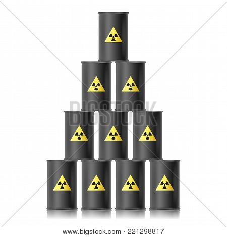 Pyramid from black barrels with biohazard sign. Vector illustration