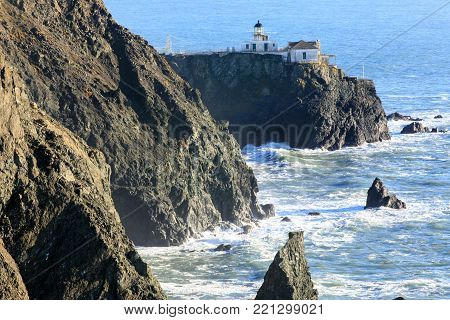 Point Bonita Lighthouse in Marin Headlands. Seen from Battery Mendell Trail in Point Bonita, Marin County, California, USA.