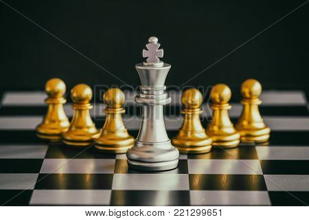 Strategy chess battle Intelligence challenge game on chessboard. Success the chess strategy concept. Chess business leader and success idea. Chess strategy game business competition success play. Chess set photographed on a chess board.
