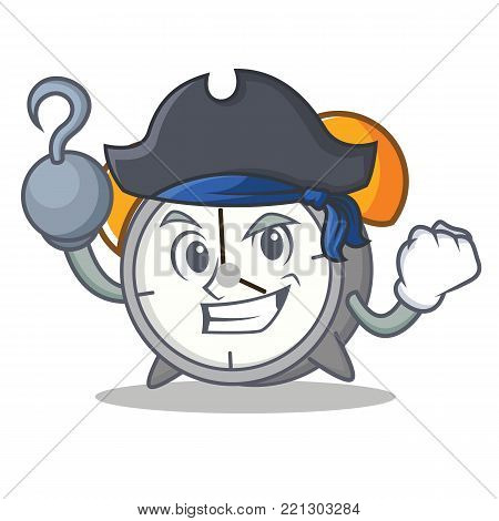 Pirate alarm clock character cartoon vector illustration