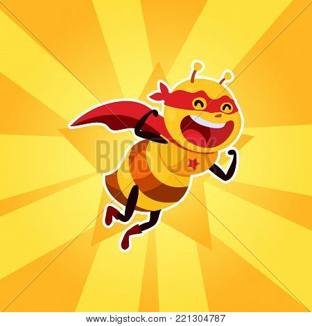 BEe Strong, vector illustration. super hero bee. funny and cute mascot