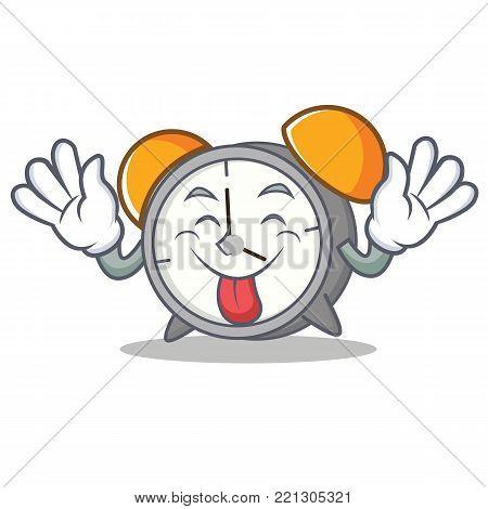 Tongue out alarm clock mascot cartoon vector illustration
