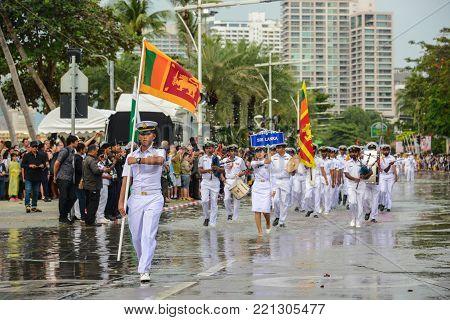 Pattaya, Thailand - November 19, 2017: Sri Lanka Navy parade marching on the 50th anniversary ASEAN International Fleet Review 2017 at the beach of Pattaya, Thailand
