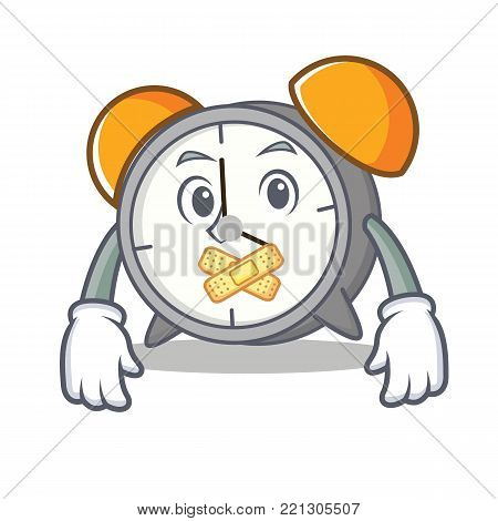 Silent alarm clock mascot cartoon vector illustration