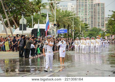 Pattaya, Thailand - November 19, 2017: Russia Navy parade marching on the 50th anniversary ASEAN International Fleet Review 2017 at the beach of Pattaya, Thailand