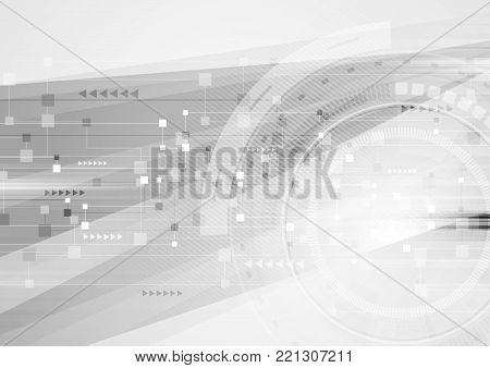 Abstract grey hi-tech futuristic background. Geometric technology vector design with gear