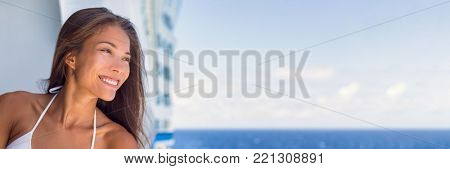 Cruise vacation woman portrait panoramic banner. Asian girl smiling on blue sky background on summer holidays travel. Luxury spa wellness on cruise ship boat.