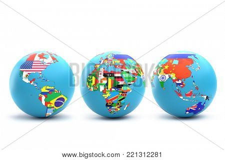 3D rendering of three World globes with continents and their countries with superimposed national flags on white background