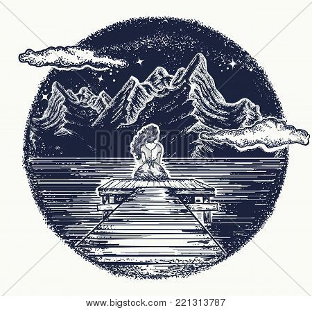 Mountains tattoo and t-shirt design. Girl sits on pier on mountain lake. Symbol of dream, romantic, love. Night mountain lake tattoo and t-shirt design