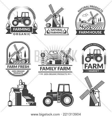 Vector set of farm logos. Collection of farming organic emblem and badge illustration