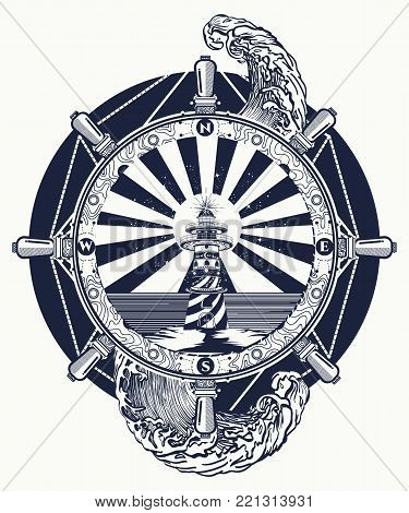Lighthouse And Sea, Tattoo And T-shirt Design. Lighthouse Searchlight Tower For Maritime Navigationa