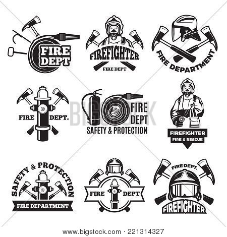Monochrome labels set for fire department. Pictures of fireman. Firefighter in helmet, safety and protection illustration