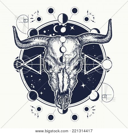 Bison skull tattoo. Native American bull skull symbol of secret knowledge, Shamanism. Soul of prairies against background of the Universe tattoo and t-shirt design