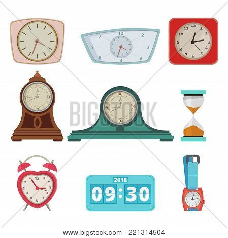 Set of different clocks and hand watches isolate on white. Clock and watch hand, time and dial. Vector illustration