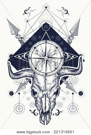 Skull bull tattoo and t-shirt design. Wild west art, bison skull, compass, crossed arrows. Symbol of western, wild West, crime, outdoors. Cowboy t-shirt design