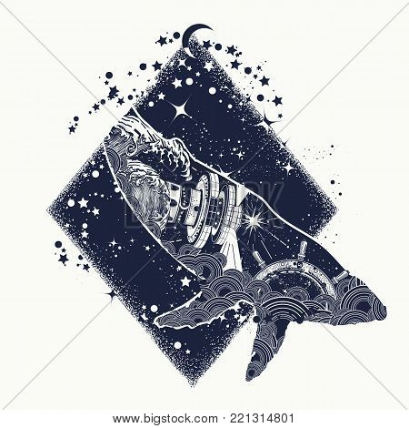 Whale double exposure surreal tattoo. Travel, adventure, outdoors symbol whale double exposure animals t-shirt design. Steering wheel lighthouse, storm