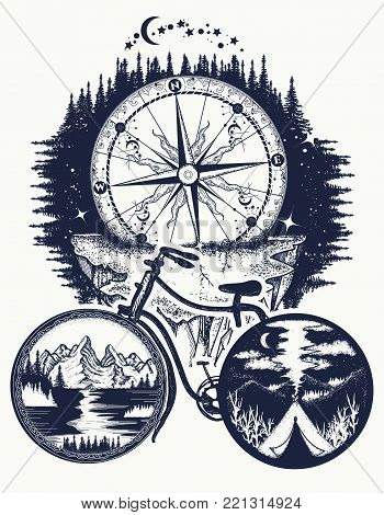 Bicycle And Mountains Tattoo Art. Symbol Of Travel, Tourism, Adventure. Compass And Mountains In Bic