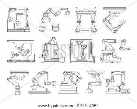Robotic machines for production. Mono line vector pictures set. Machine mechanical industrial hand, linear technical technology manufacturing illustration