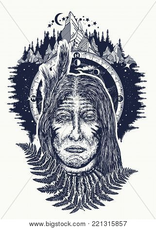 Old indian man tattoo and t-shirt design. Mountains, outdoors. Native american old man tattoo. North American Indian t-shirt design. Symbol warrior, tribe, shaman