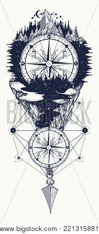 Outdoors tattoo and t-shirt design. Mountains and antique compass tattoo art. Adventure, travel, outdoors, symbol. Compass, mountains and night forest boho style, t-shirt design