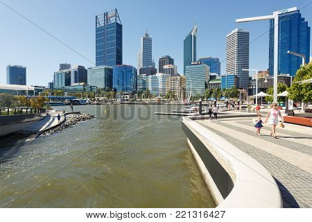 Perth, Australia - December 27, 2017: Elizabeth Quay is a mixed-use development project in the Perth central business district.