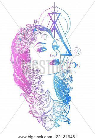 Art nouveau woman tattoo and t-shirt design. Beautiful glamourous vintage woman vector. Symbol of a retro, elegance, glamour, renaissance, queen, princess