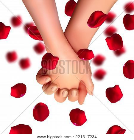 Realistic hands of lovers on isolated white background.Love and friendship. 3d illustration for the day of all lovers, March 8. Vector illustration