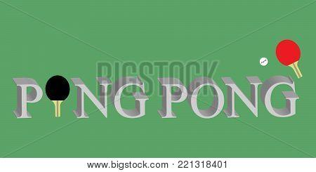 Ping Pong logo writing on green with paddles and ping bong ball