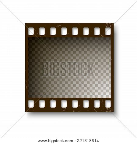 Realistic retro frame of 35 mm filmstrip with shadow isolated on white background. Vector illustration