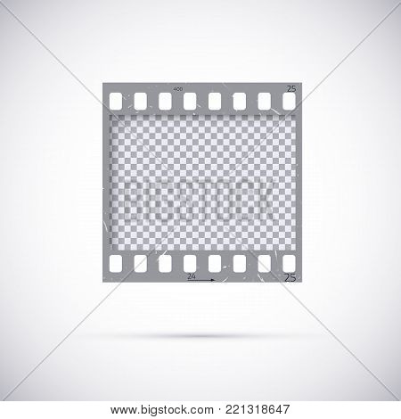 Realistic Frame of 35 mm filmstrip. Empty blanck Photo negative film template. Vector illustration on white background