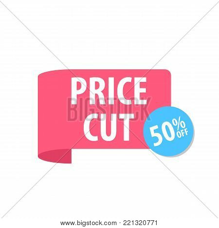 Price cut Label. Isolated on white. Red color. Vector illustration