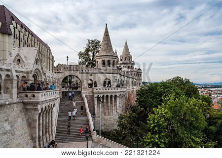 Budapest, Hungary - August 12, 2017: Fisherman Bastion in Budapest.  It is a terrace in neo-Gothic and neo-Romanesque style situated on the Buda bank of the Danube, on the Castle hill.