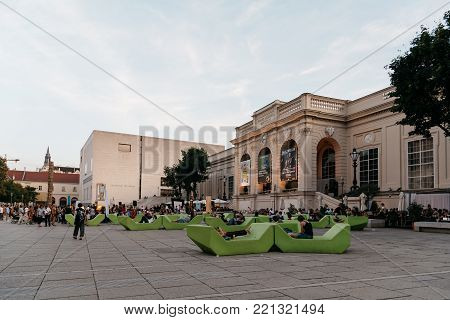 Vienna, Austria - August 17, 2017: Museumsquartier in Vienna. It is home to large art museums like the Leopold Museum and the MUMOK, Museum of Modern Art Ludwig Foundation Vienna.