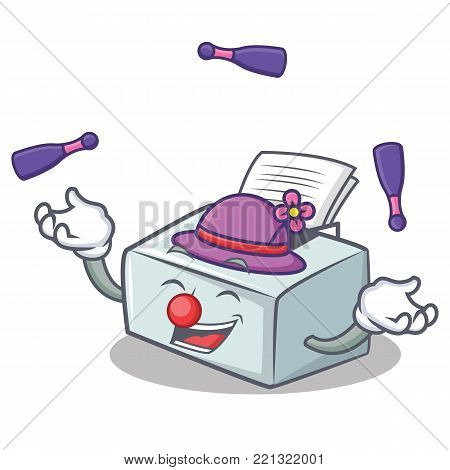 Juggling printer mascot cartoon style vector illustration