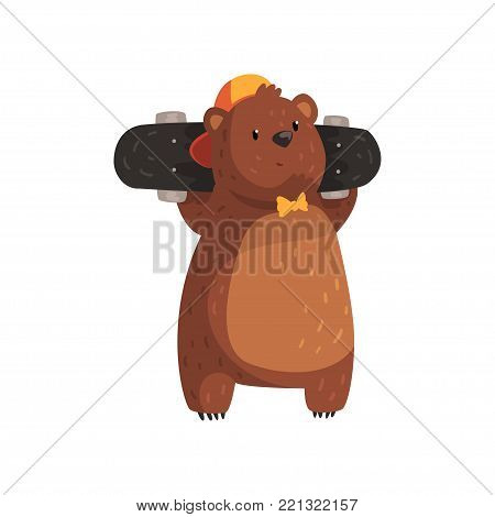 Cool bear in orange cap and bow tie holding skateboard on shoulders. Cartoon character of teen grizzly with brown fur, small rounded ears and paws with claws. Wild animal. Isolated flat vector design.