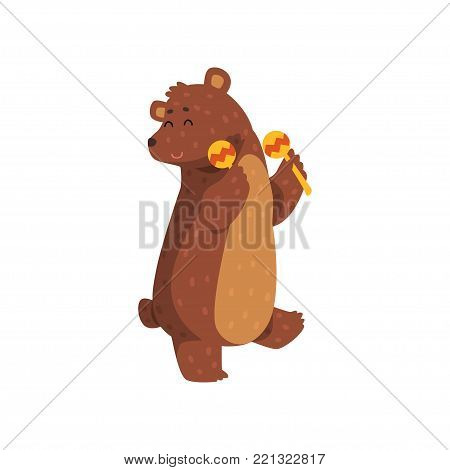 Happy brown bear dancing with maracas. Cartoon character of wild animal with short tail, small rounded ears and paws with claws. Isolated flat vector design for greeting card, sticker or children book