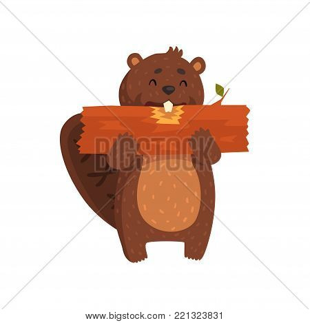 Happy little beaver eating piece of wood. Cartoon character of wild animal with big teeth, brown fur, shaped tail, little ears. Forest rodent. Flat vector illustration isolated on white background.
